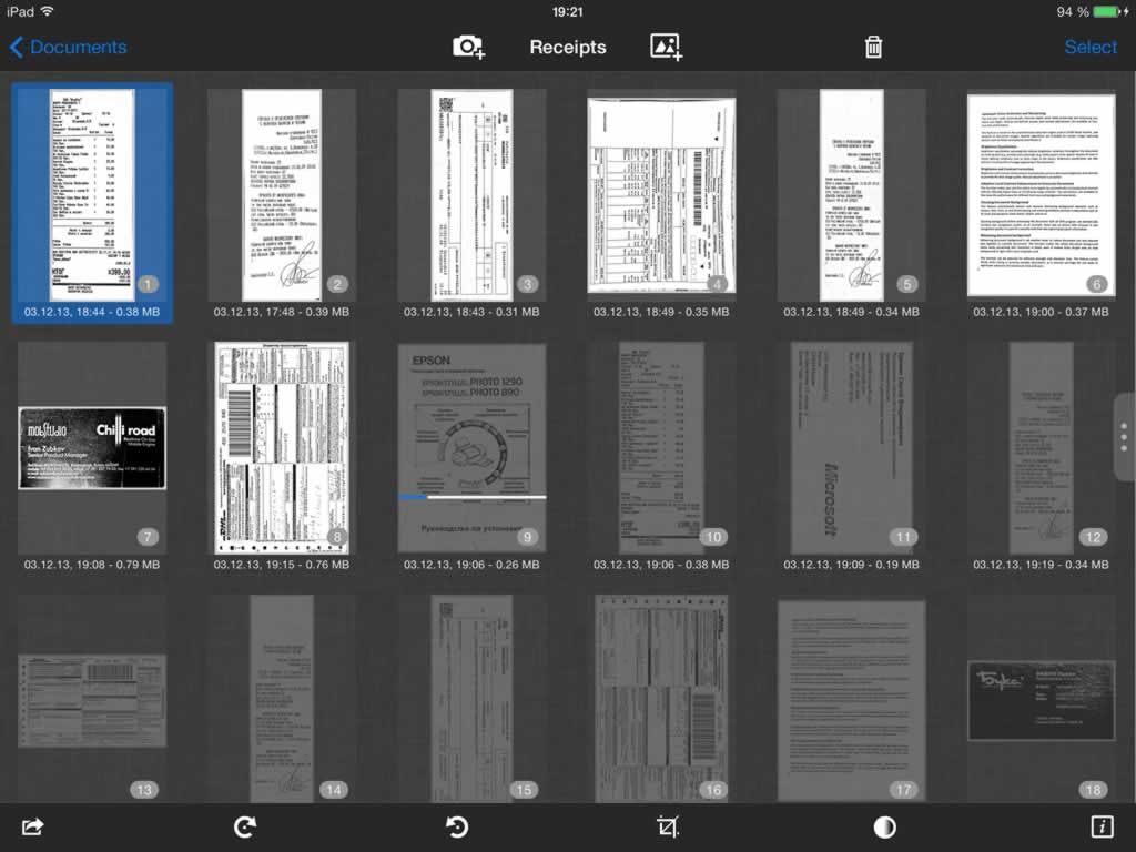 SharpScan - jet-fast mobile PDF document scanner: Screenshot